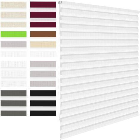 ECD Germany Store enrouleur double 55 x 150 cm - Blanc - Klemmfix - sans perçage - avec supports de serrage - pare-soleil- matériel de fixation inclus - store occultant