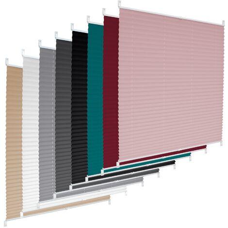 ECD Germany Store Plissé 90 x 200 cm Gris avec Klemmfix sans perçage pour Fenêtre Protection solaire Rideau facile à fixer + Matériau de montage
