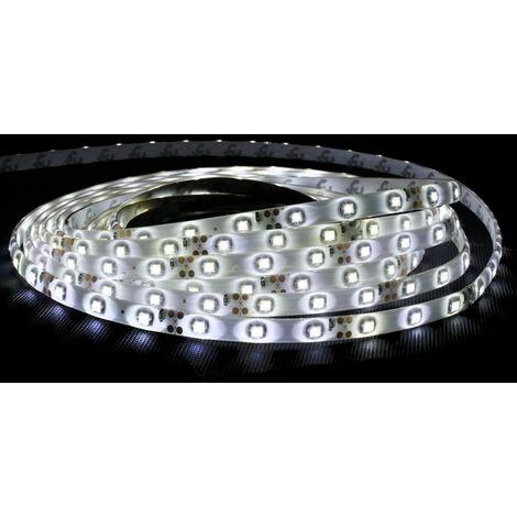ECD Germany Tira de 60 LED impermeable 3m + fuente de alimentación 12V + Cinta impermeable empotrable Blanco frío
