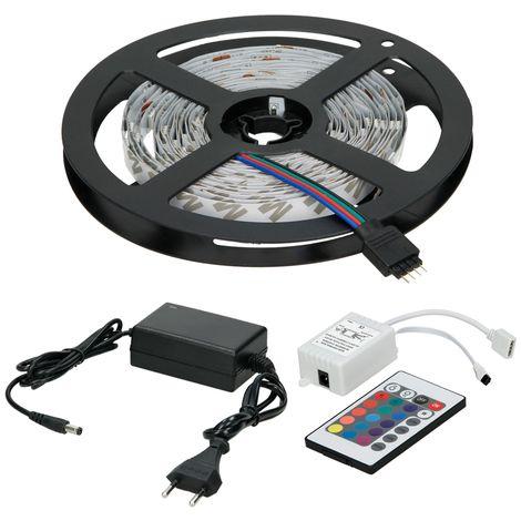ECD Germany Tira de LED 3m + fuente de alimentación 2A + control remoto 24 botones