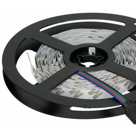 ECD Germany Tira LED RGB 5 m - 30 SMD - LED extrabrillantes - Tiras LED de 10 mm - Tiras autoadhesivas - 12V - metro 5/6W Sin fuente de alimentación y con control remoto