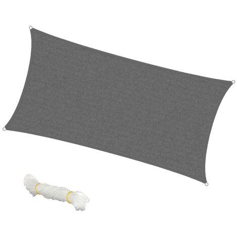 ECD Germany Toldo Vela de Sombra Rectangular - 2x4 m - Gris - HDPE - con protección UV - Incluye cables tensores - Resistente a la Intemperie Protección Solar para balcón y terraza de jardín