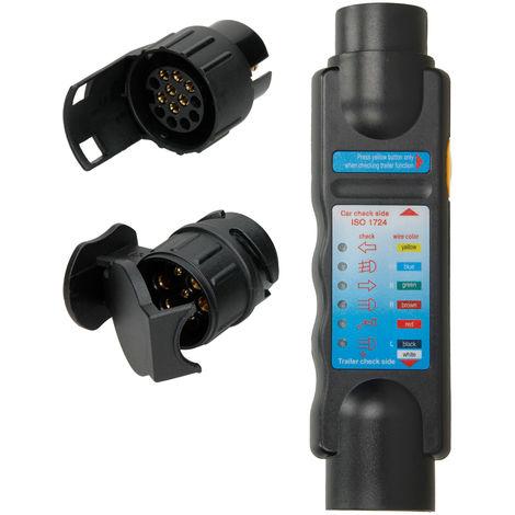ECD Germany Trailer Tester zum Prüfen von Anhänger- und Wohnwagenbeleuchtung, 12 Volt, für 7- und 13-polige Steckdosen