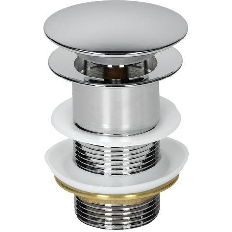 ECD Germany Universal Ablaufgarnitur für Waschbecken Waschtisch Ablaufventil ohne Überlauf Messing verchromt Modernes Pop-Up Click Clack Ventil Abflussgarnitur Werkzeugloser Einbau Waschbeckenstöpsel