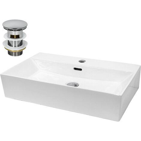 ECD Germany vasque lavabo 515x360x130 mm en céramique blanche avec garniture de vidage pour lavabos avec trop-plein lavabo à poser lavabo à poser lavabo lavabo