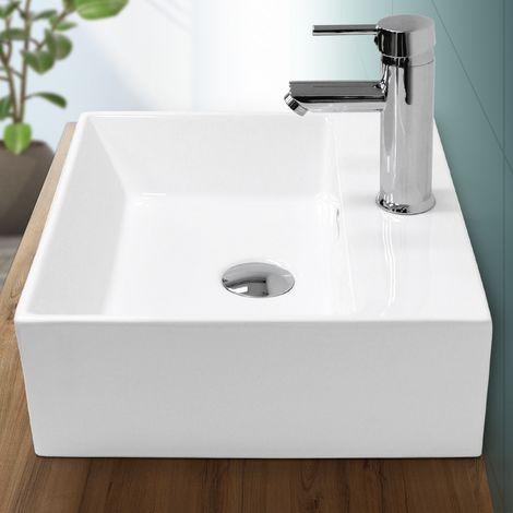 ECD Germany Waschbecken Waschtisch - 415x360x130 mm - aus Keramik - Eckig - Weiß - Design Modern - Aufsatzbecken Aufsatzwaschbecken Waschschale Handwaschbecken Aufsatzwaschtisch