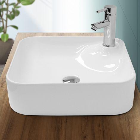 ECD Germany Waschbecken Waschtisch - 435 x 435 x 125 mm - aus Keramik - Weiß - Aufsatzbecken Aufsatzwaschbecken Waschschale Handwaschbecken Aufsatzwaschtisch Spülbecken Wasserfall Waschchlüssel