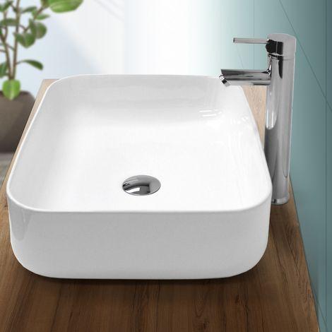 ECD Germany Waschbecken Waschtisch - 505x395x135 mm - aus Keramik - Eckig - Weiß - Design Modern - Aufsatzbecken Aufsatzwaschbecken Waschschale Handwaschbecken Aufsatzwaschtisch