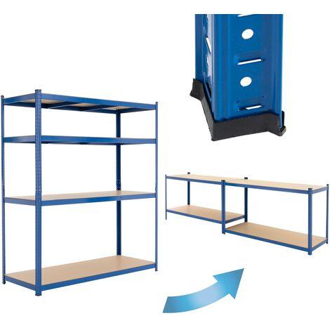 ECD Germany Werkstattregal Schwerlastregal 180x160x60 cm Blau aus pulverbeschichtem Metall mit 4 B?den aus MDF Holz belastbar bis 280kg Lagerregal Steckregal Kellerregal Garagenregal Metallregal Regal
