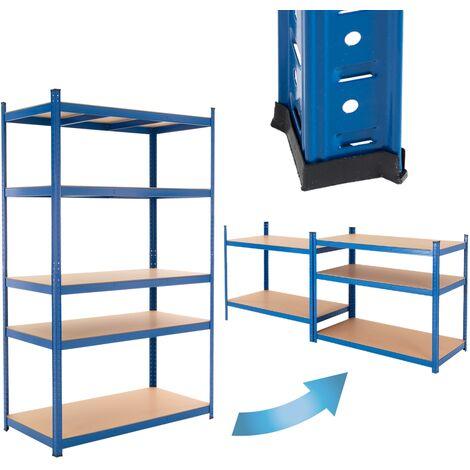 ECD Germany Werkstattregal Schwerlastregal 200x120x50 cm Blau aus pulverbeschichtem Metall mit 5 B?den aus MDF Holz belastbar bis 350kg Lagerregal Steckregal Kellerregal Garagenregal Metallregal Regal