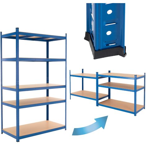 ECD Germany Werkstattregal Schwerlastregal 200x120x60 cm Blau aus pulverbeschichtem Metall mit 5 B?den aus MDF Holz belastbar bis 350kg Lagerregal Steckregal Kellerregal Garagenregal Metallregal Regal