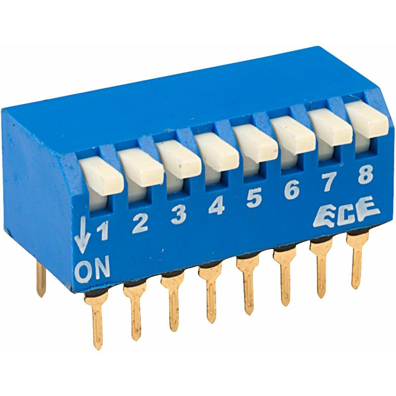 Image of EPG108A 8 Pole 16 Pin Piano DIL Switch - ECE
