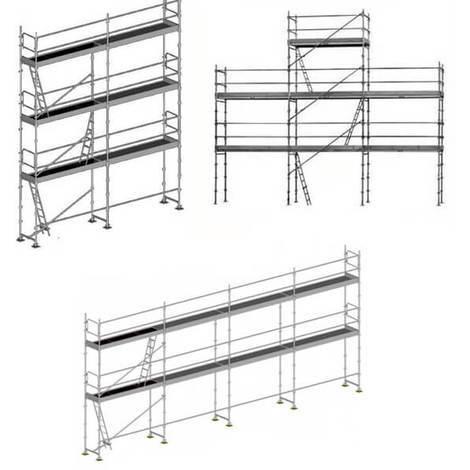 Echafaudage fixe 3 en 1: Structure + Planchers + Plinthes