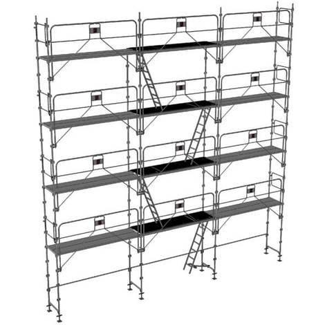 Echafaudage fixe de 100m² : Structure + Planchers