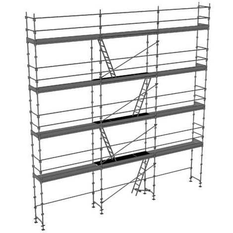 Echafaudage fixe de 100m² - Structure + Planchers + Plinthes - Version garde-corps monobloc