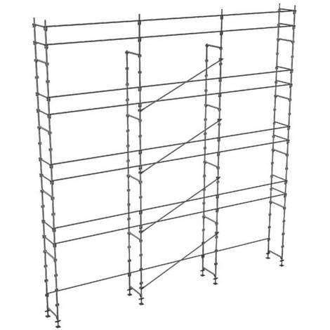 Echafaudage fixe de 100m² - Structure seule - Version lisses; sous-lisses et diagonales