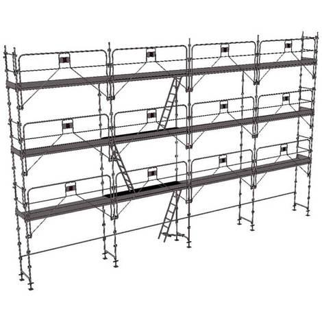 Echafaudage fixe de 104m² - Structure + Planchers + Plinthes - Version garde-corps monobloc
