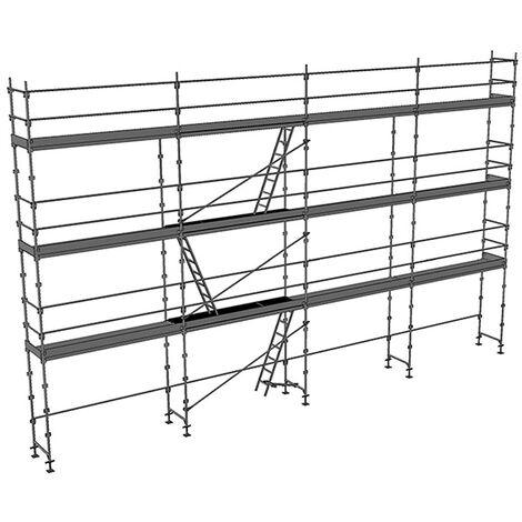 Echafaudage fixe de 104m² - Structure + Planchers + Plinthes - Version lisses; sous-lisses et diagonales