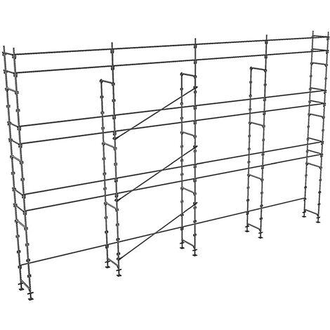 Echafaudage fixe de 104m² - Structure seule - Version lisses; sous-lisses et diagonales