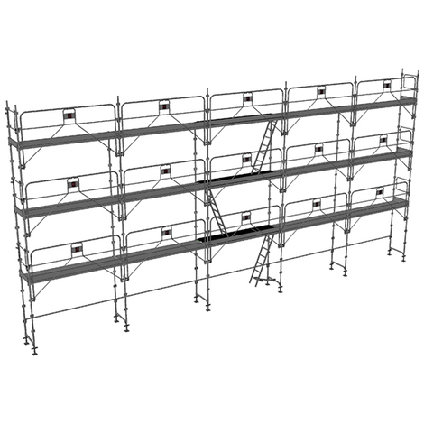 Echafaudage fixe de 128m² - Structure + Planchers + Plinthes - Version garde-corps monobloc