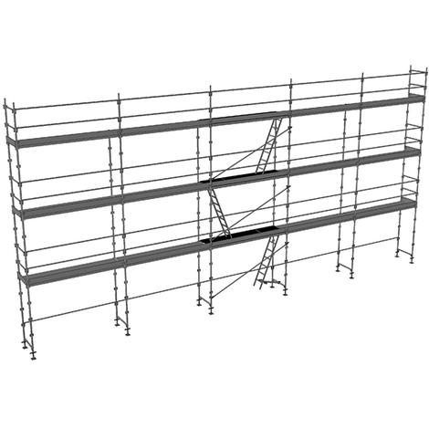 Echafaudage fixe de 128m² - Structure + Planchers + Plinthes - Version lisses; sous-lisses et diagonales