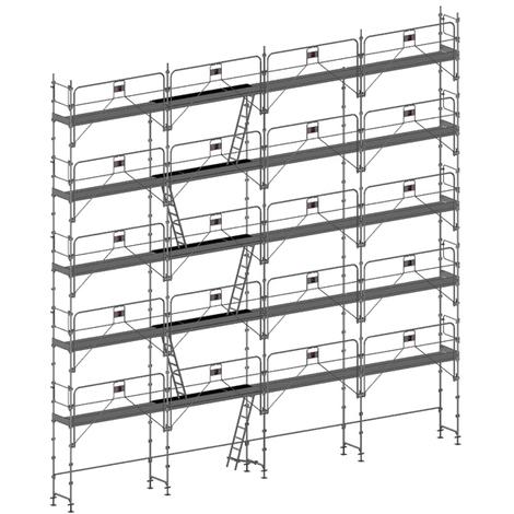 Echafaudage fixe de 156m² : Structure + Planchers + Plinthes