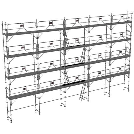Echafaudage fixe de 160m² - Structure + Planchers + Plinthes - Version garde-corps monobloc
