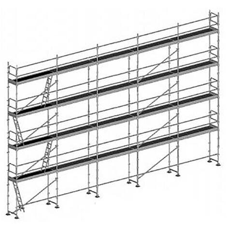 Echafaudage fixe de 160m² - Structure + Planchers + Plinthes - Version lisses; sous-lisses et diagonales