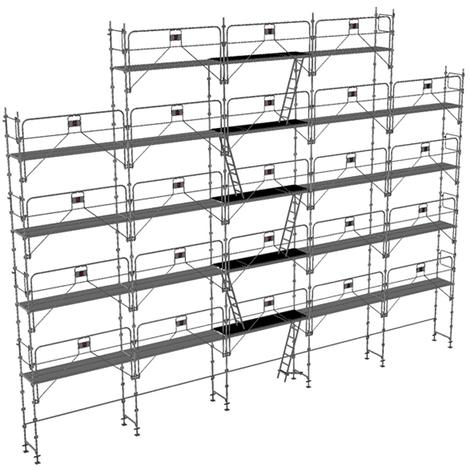 Echafaudage fixe de 180m² : Structure + Planchers