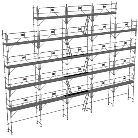 Echafaudage fixe de 180m² - Structure + Planchers + Plinthes - Version garde-corps monobloc