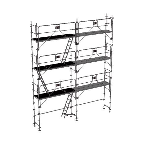 Echafaudage fixe de 56m² : Structure + Planchers