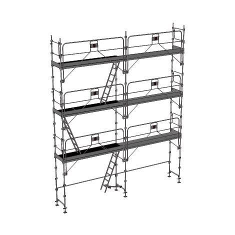Echafaudage fixe de 56m² - Structure + Planchers + Plinthes - Version garde-corps monobloc