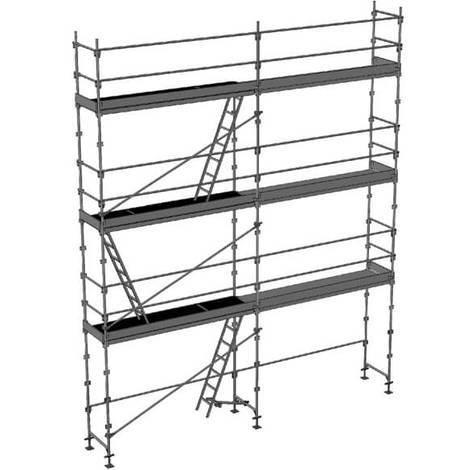 Echafaudage fixe de 56m² - Structure + Planchers + Plinthes - Version lisses; sous-lisses et diagonales