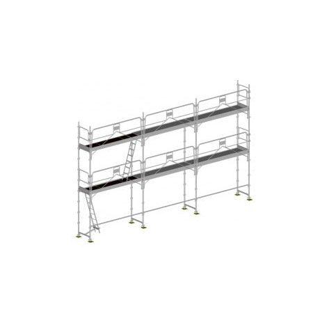 Echafaudage fixe de 60m² : Structure + Planchers + Plinthes - Version garde-corps monobloc