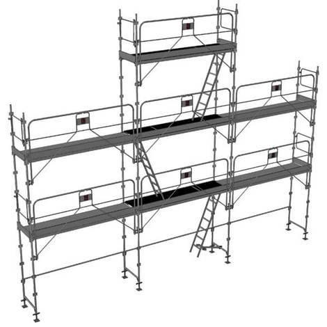 Echafaudage fixe de 68m² - Structure + Planchers + Plinthes - Version garde-corps monobloc