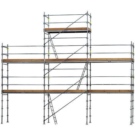 Echafaudage fixe de 68m² - Structure + Planchers + Plinthes - Version lisses; sous-lisses et diagonales