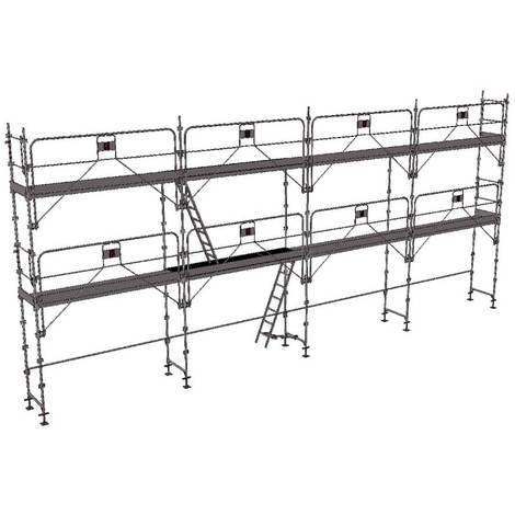 Echafaudage fixe de 78m² - Structure + Planchers + Plinthes - Version garde-corps monobloc