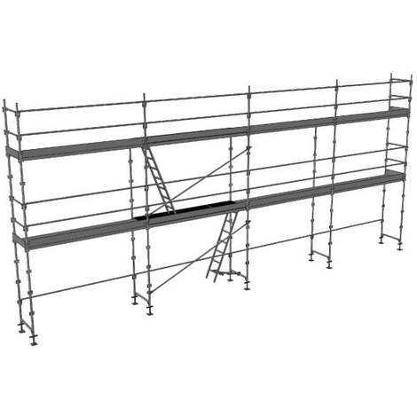 Echafaudage fixe de 78m² - Structure + Planchers + Plinthes - Version lisses; sous-lisses et diagonales