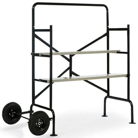 Echafaudage mobile sur roues L.140 xl.78xH.135 cm avec 2 plateformes