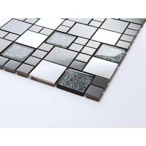 """main image of """"Carrelage mosaïque en verre et acier inoxydable. Noir, Argent (MT0002)"""""""