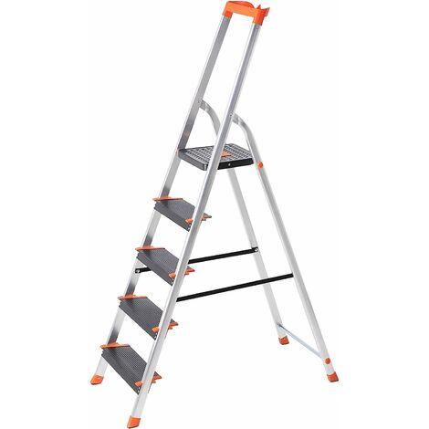 Échelle 5 marches, en Aluminium, Escabeau, Largeur de la marche: 12cm, Pliable, avec Plateau à outil, Pieds antidérapants, Capacité de charge 150KG GLT05BK - Gris métallisé, noir, orange