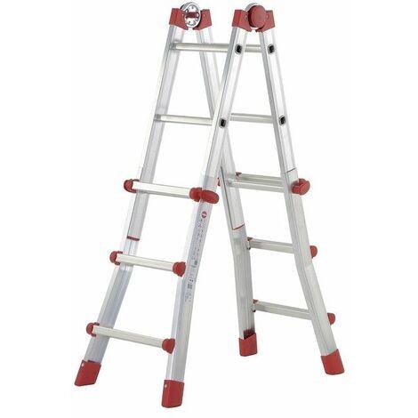 Hailo ProfiStep® Multi - Escalera telescópica 4 tramos aluminio Nº Escalones - 3+3 escalones