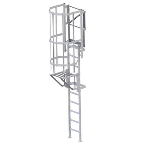 Echelle crinoline avec trappe de condamnation - Hauteur 2.80m à 8.00m (plusieurs tailles disponibles)