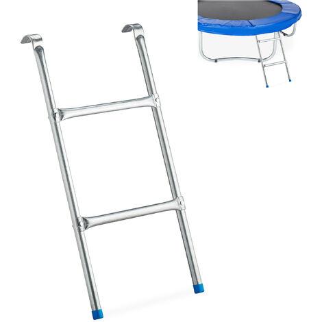Échelle de trampoline escalier de trampoline accessoire jardin marches enfant H x L: 76 x 38 cm, argenté