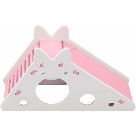 """main image of """"Échelle d'escalier de Hamster, Jouets d'escalade de Hamster de nid de Repos d'assemblée d'animal familier de Maison de Hamster en Bois(Rose)"""""""
