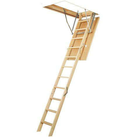 Échelle du grenier - Escalier 3 pièces avec échelles en bois. Hauteur du bac de 20 cm. - 70x 120 cm - Escalier de grenier en trois parties jusqu'à 280 cm LWS 280cm hauteur, bin 20cm haut – 70 X 120cm