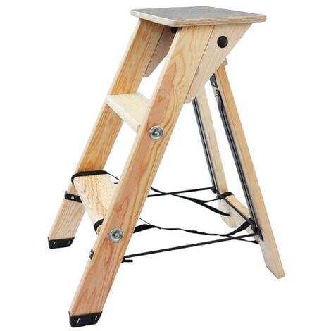 Echelle escabeau en bois 2 marches avec tablette