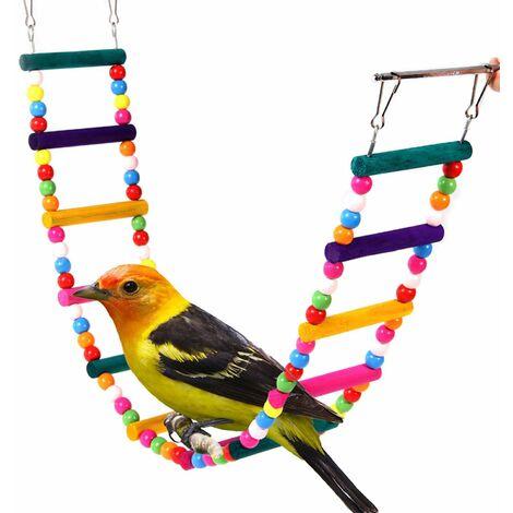 Échelle Jouet pour oiseau bois arc-en-ciel Pont balançoires pour perroquet Animal pour l'entraînement