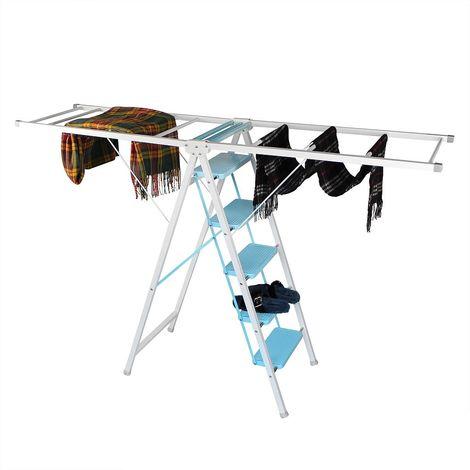 Echelle Multifonction, Etagère de Séchage, 5 niveaux, Hauteur 188 cm, Blanc/Bleu, Taille dépliée (Etendoir): 188 x 105 x 50 cm