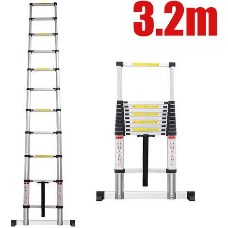 Échelle Pliable, Echelle Telescopique, 3,2 mètre(s), Sac de transport OFFERT, EN 131, Charge maximale: 150 kg
